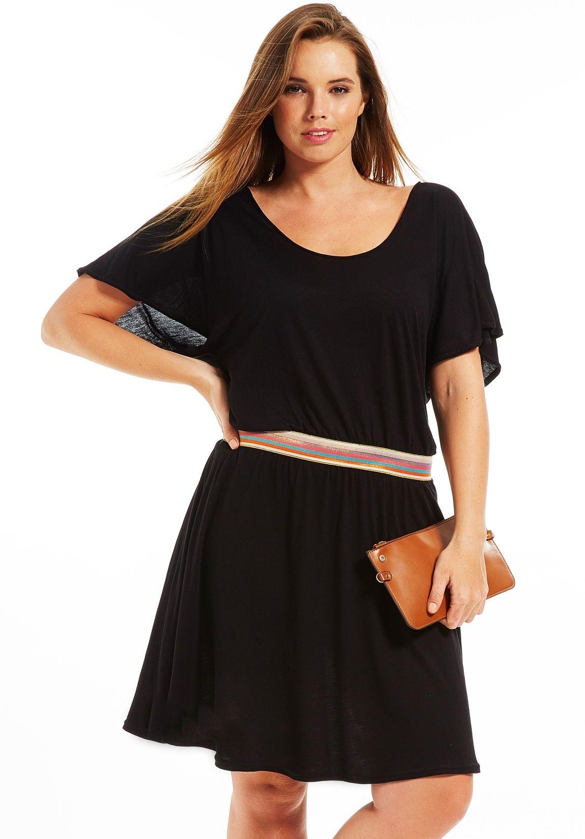 robe grande taille chauve souris noir avec ceinture robe. Black Bedroom Furniture Sets. Home Design Ideas