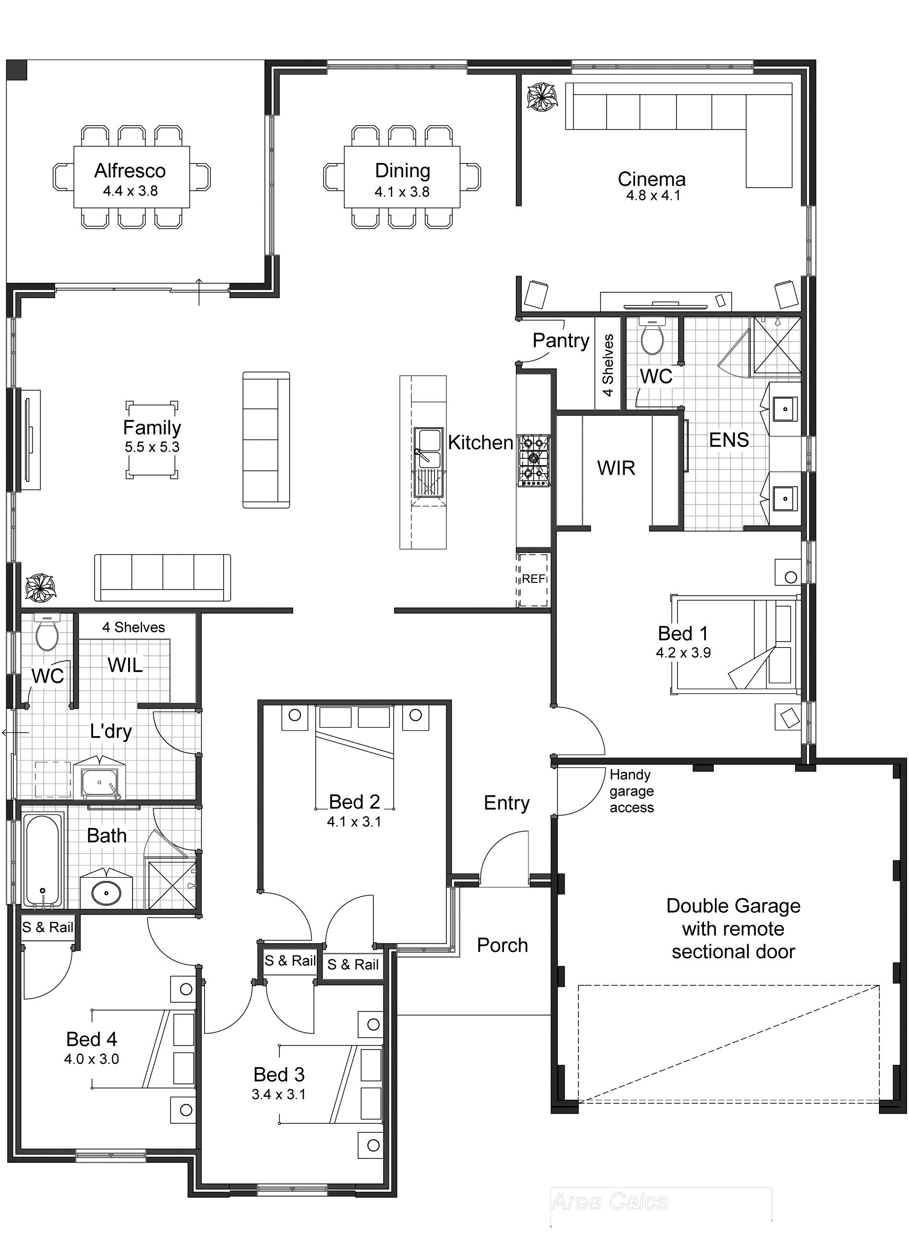 Home Floor Plans. 4 Bed 2 Bath Sq Ft. House Floor Plans With ... - ^