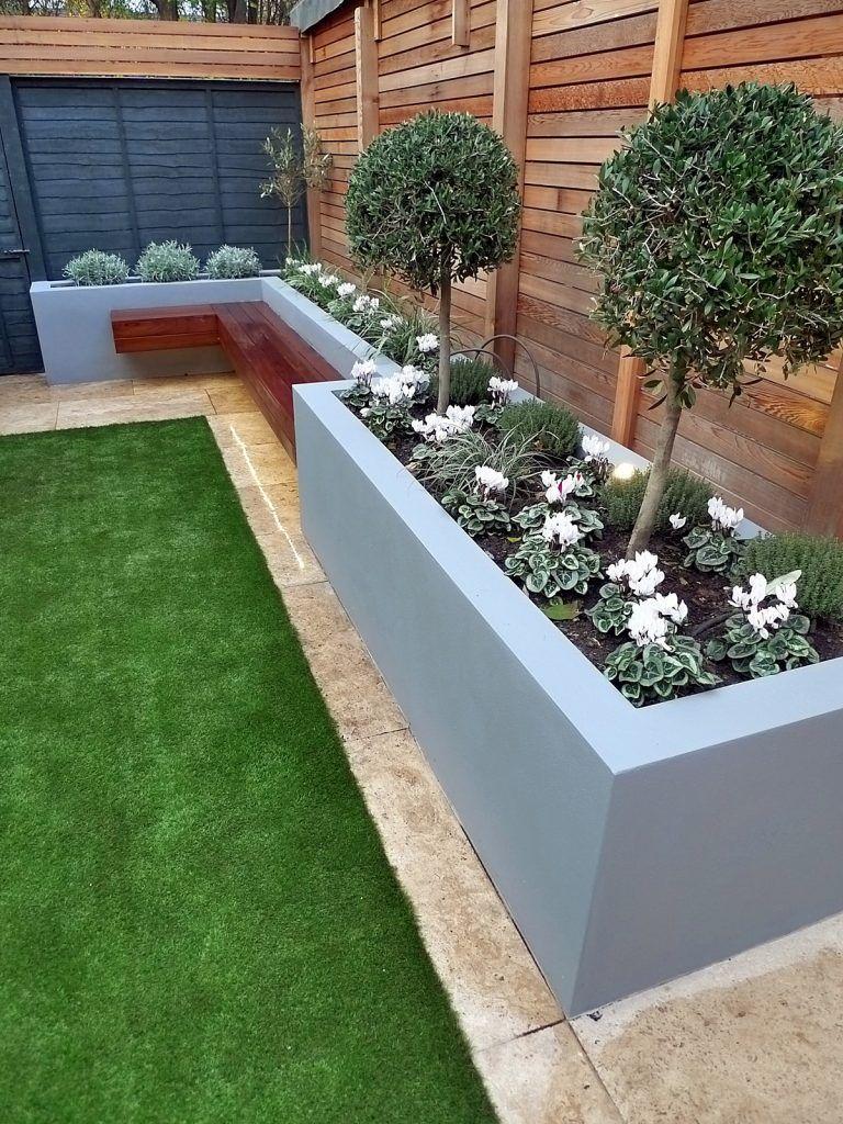 Modern garden design artificial grass raised beds cedar - Small backyard landscaping ideas ...