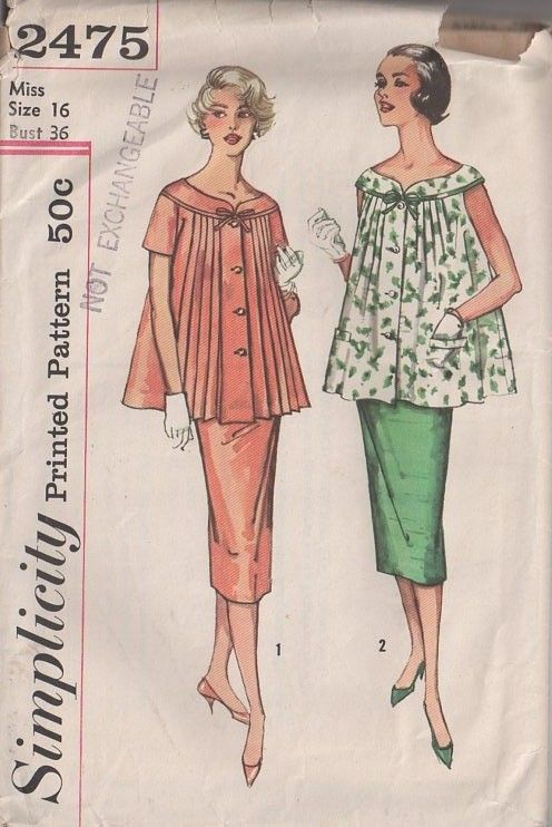 MOMSPatterns Vintage Sewing Patterns - Simplicity 2475 Vintage 50's Sewing Pattern VERY LUCY Modest Retro Maternity Pleated Formal Front Buttoned Cocktail Party Smock Top, Open Belly Maternity Sheath Skirt
