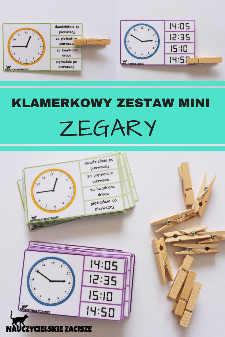Zegary Klamerki Time Telling Time Clothes Pegs School Homeschool Primary Education Language Teaching