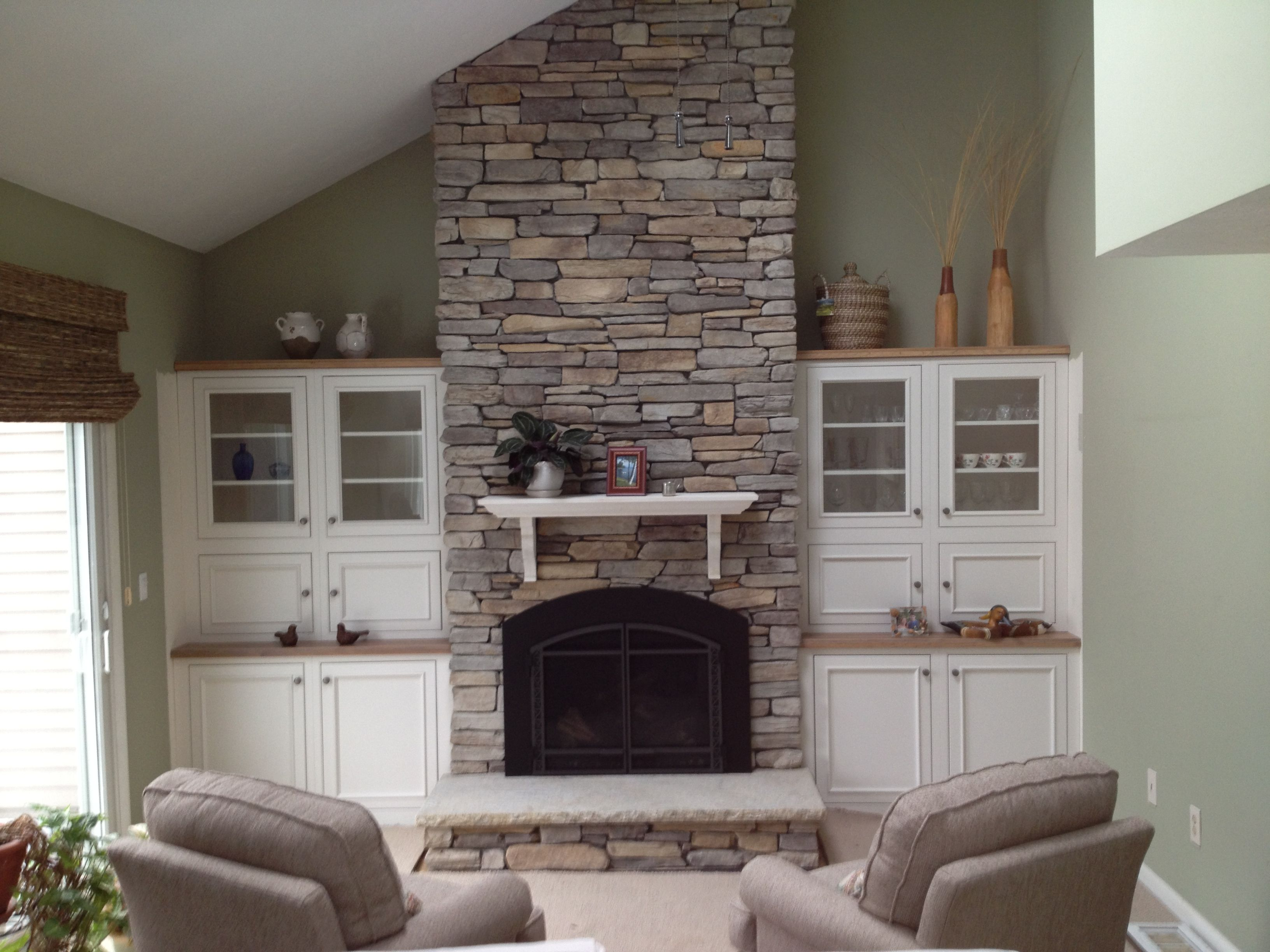 Thin Stone Veneer Installed Over Old Brick Fireplace Installed By