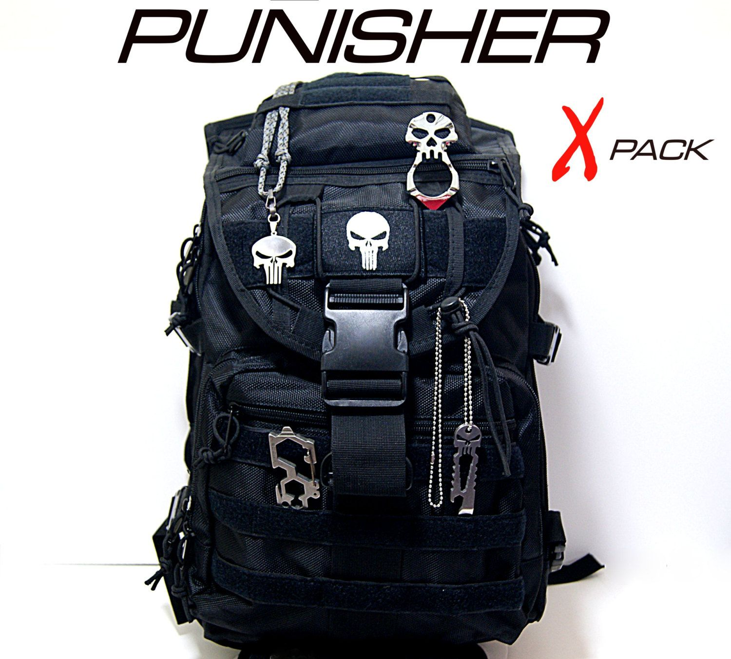 33ae0098e64f PUNISHER Tactical Black 3 Day Assault Backpack w  4 Self Defense    Accessories