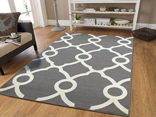 Large Moroccan Style Modern Rug For Living Room White Gray Rug