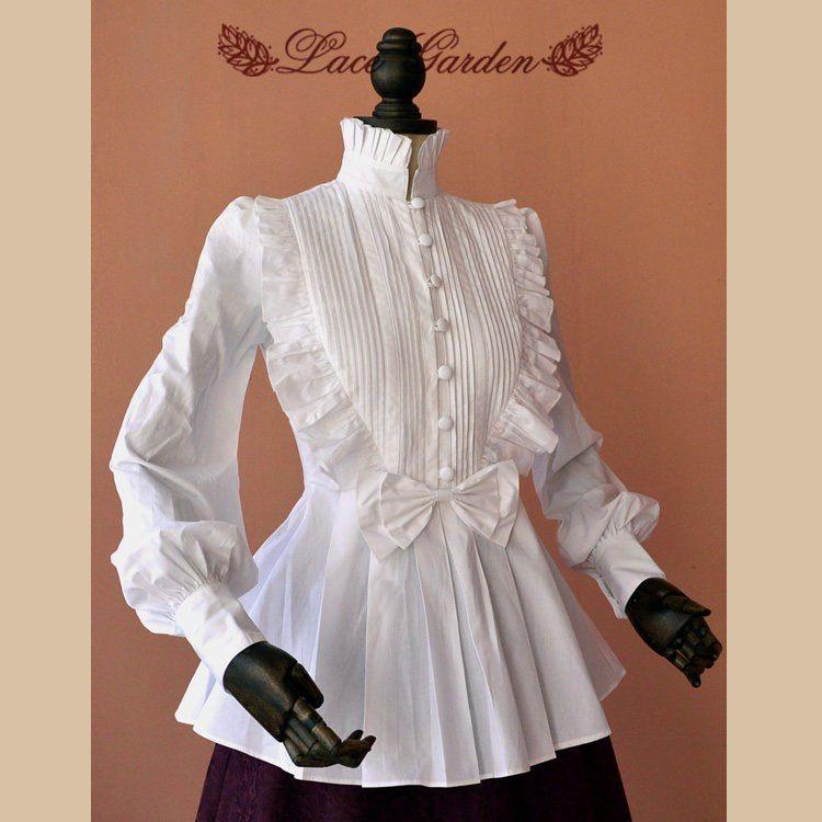 28defc69d087 Blusa blanca Vintage manga larga de algodón cuello alto para mujer ...