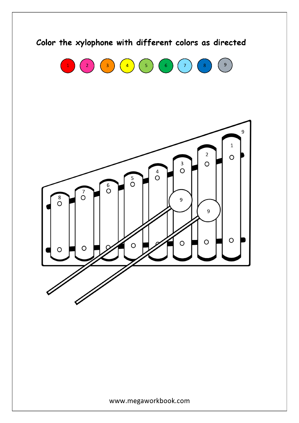 Color recognition worksheet color by number xylophone