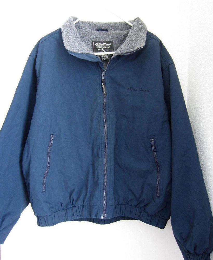Eddie Bauer Jacket Coat L Large Blue Zip Front Mens # ...