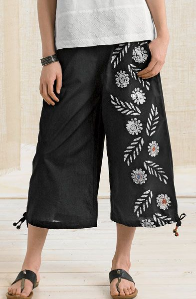 Ellora Pants - Black/White - Wide-leg crops with floral batik design and tie bottom are fun and feminine. Elastic waist, side pockets.