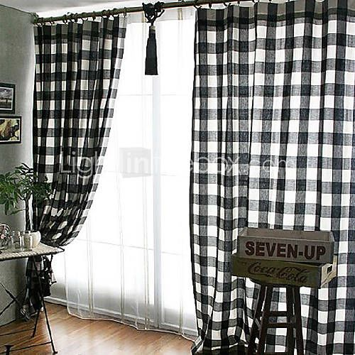 Classic Black And White Check Window Curtains Two Panels