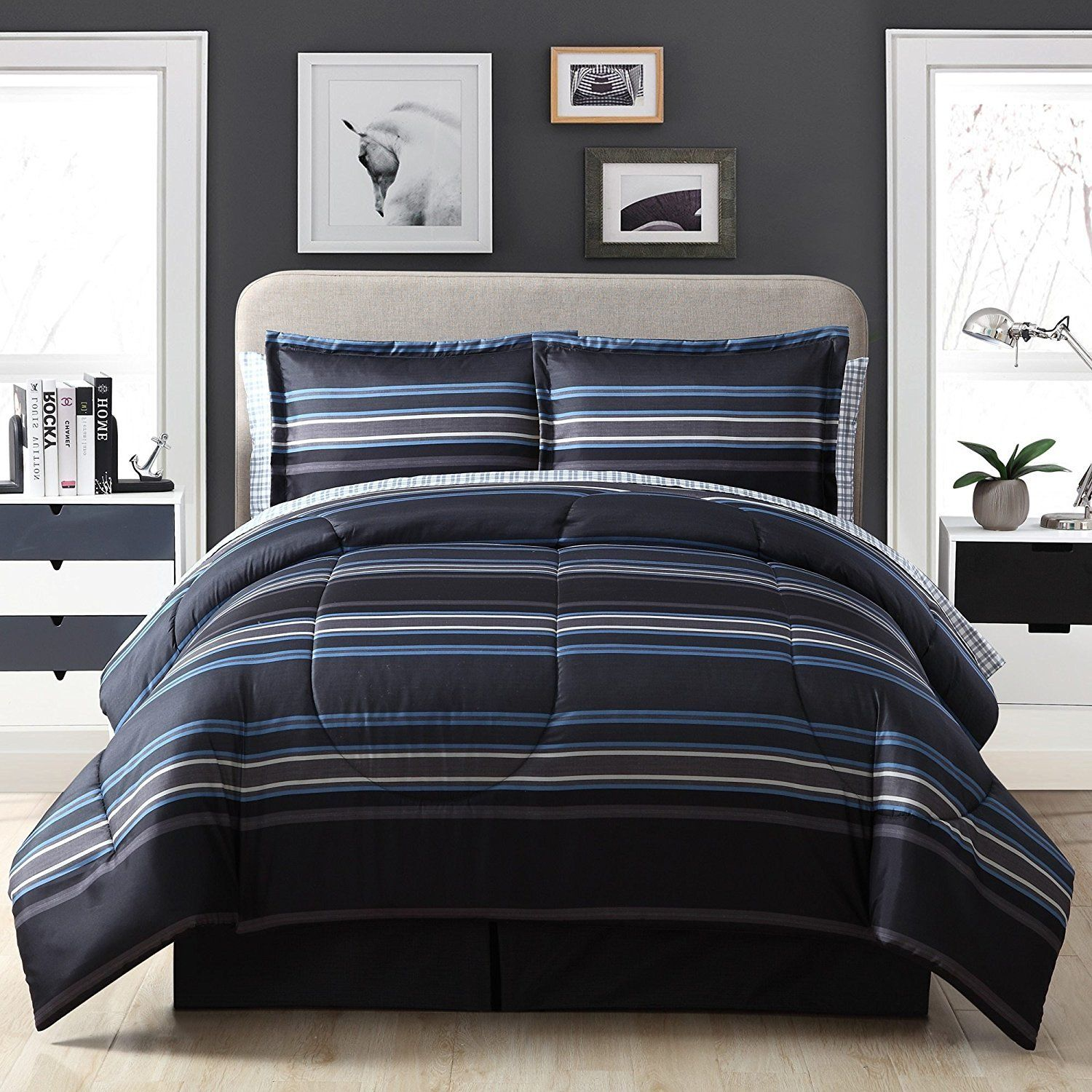 Grey Black Blue Rugby Stripes Comforter Queen Set Horizontal Striped Bedding  Sports Themed Colors Nautical Cabana