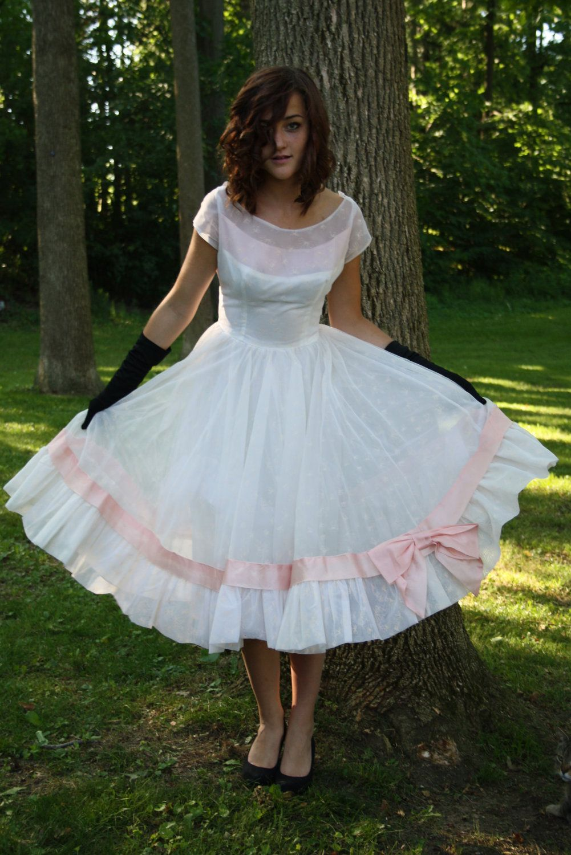 50s white prom dress 1950s chiffon party wedding rockabilly vlv ...