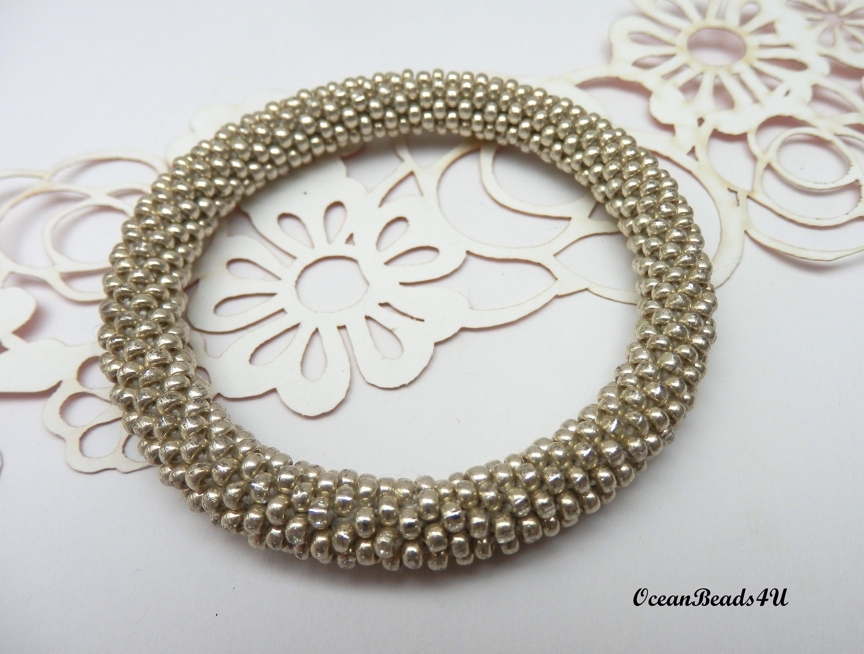 Silver Roll on Beaded Bracelet/ Bangle / Nepal Bracelet/ Armband/ Gold Bracelet by OceanBeads4U on Etsy