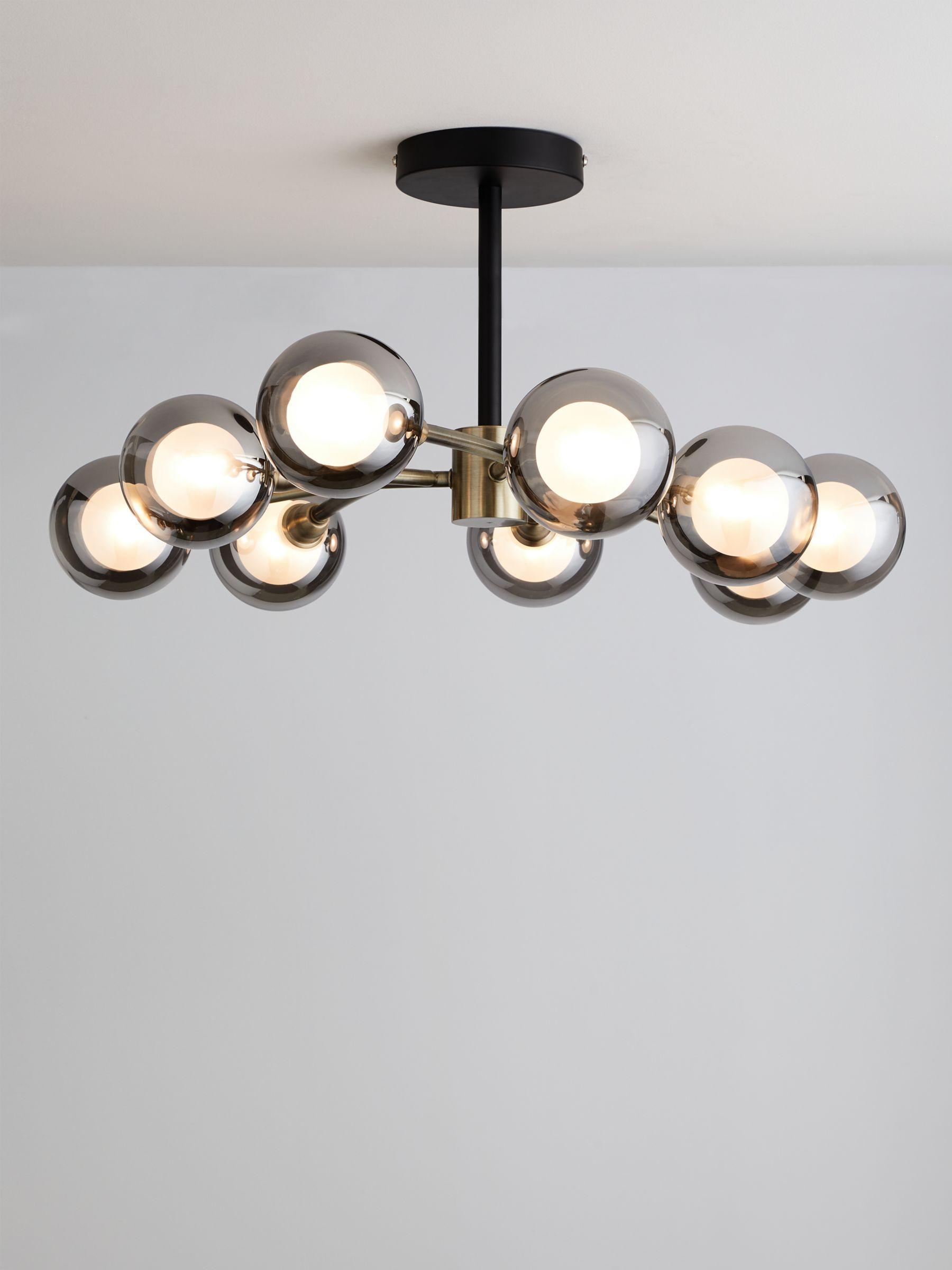 John Lewis Partners Huxley Semi Flush Ceiling Light Brass Black