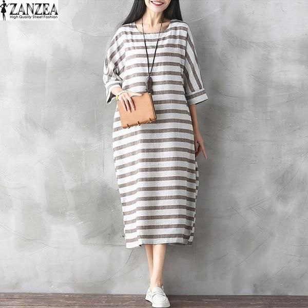 59c68354d7 2017 ZANZEA Womens Retro Stripe Short Sleeve Pockets Summer Kaftan Loo –  Fastlanerz