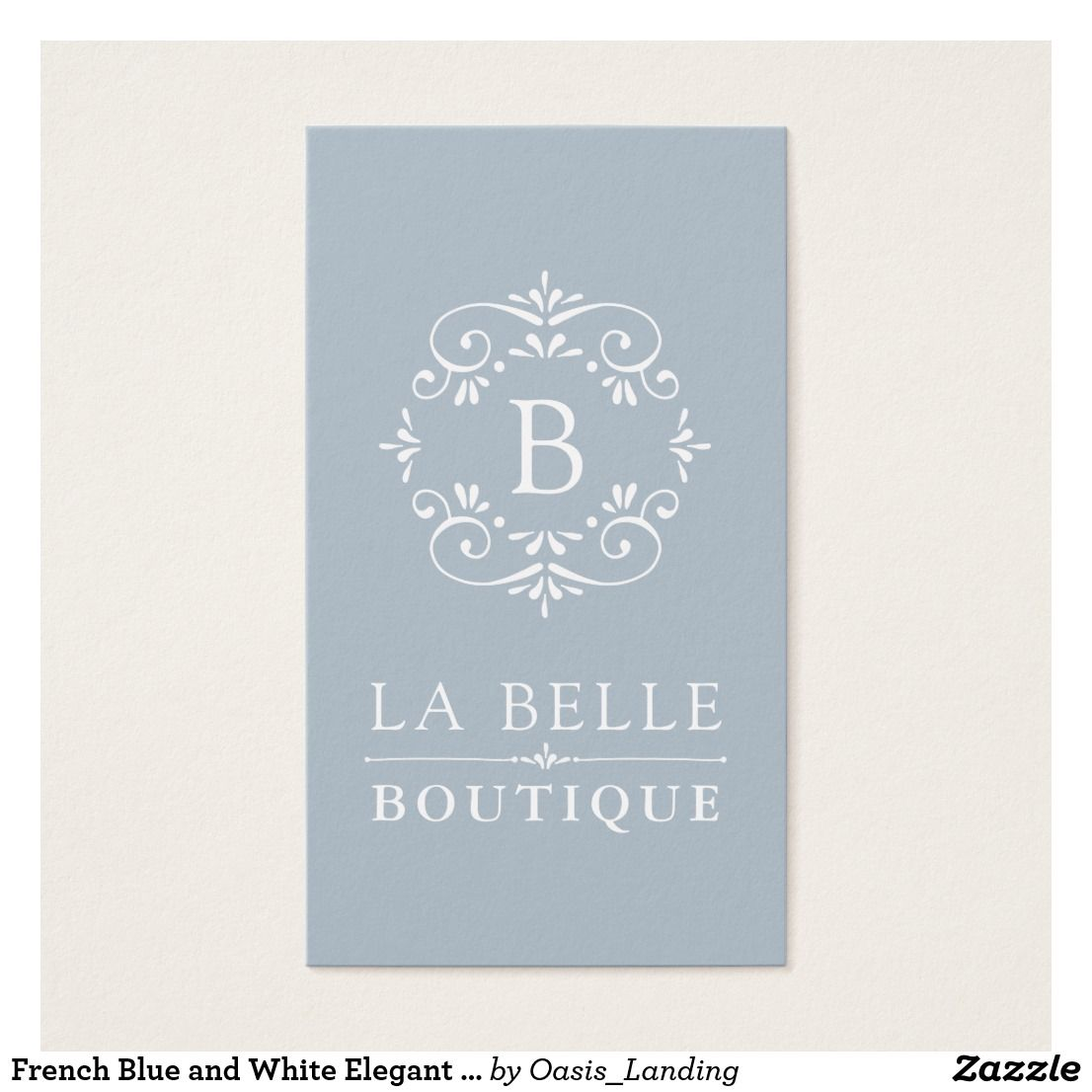 French Blue and White Elegant Monogram Business Card - A European ...