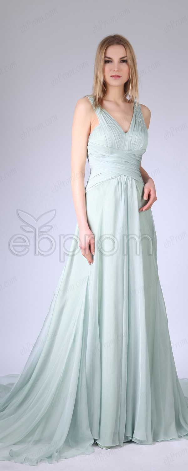 Light green V Neck evening dresses with crystals | Green evening dress
