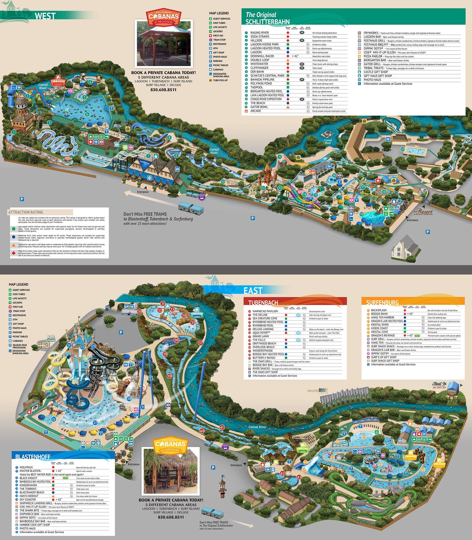 Schlitterbahn New Braunfels Map New Braunfels Park Map Texas