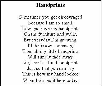 photograph relating to Sometimes You Get Discouraged Handprint Poem Printable referred to as Pin upon Moms Working day (Preschool)