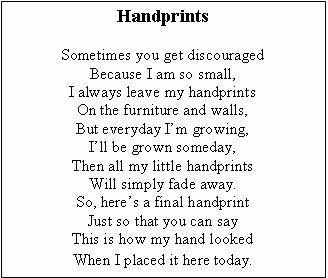 photograph regarding Handprint Poem Printable identified as Pin upon Moms Working day (Preschool)