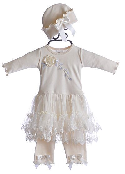 9e41d497815b Katie Rose Baby Girls Ivory Lace Dress w Hat  72.00