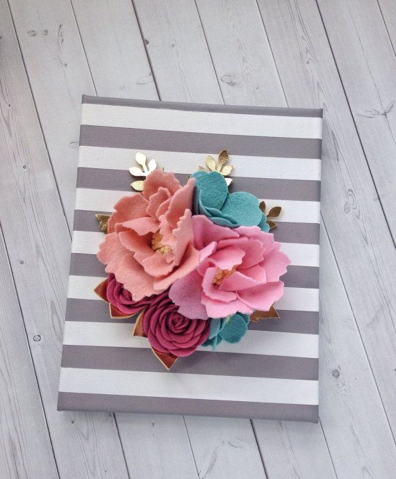 3D Wall Flowers - Felt Wall Hanging - Felt Flower Wall ...