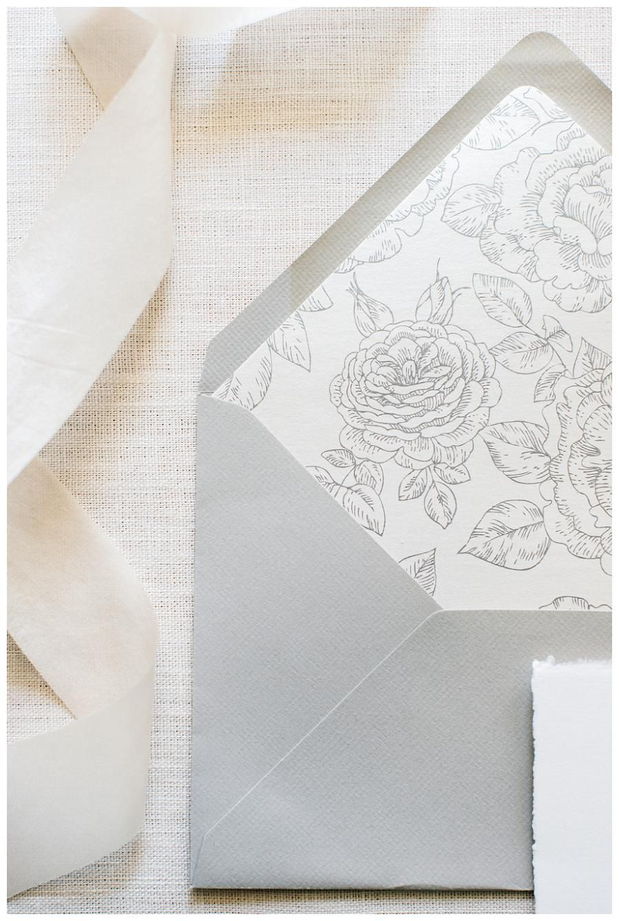 Outer Wedding Invitation Envelope In Soft Dove Gray With Botanical