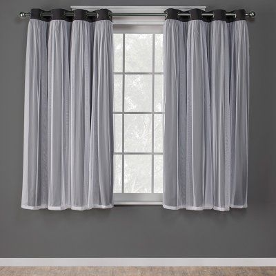 992957bda178 Exclusive Home Catarina Layered Solid Blackout and Sheer Window Curtain  Panel Pair - EH8255-01 2-63G
