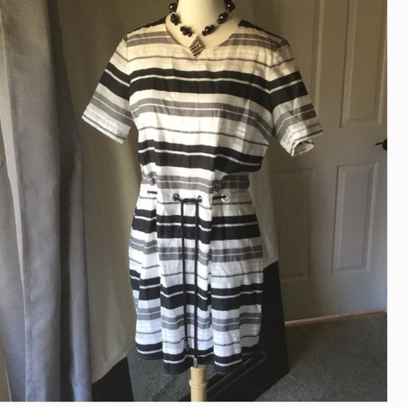 """Michael Kors BRAND NEW stripe dress Michael Michael Kors BRAND NEW white and black stripe dress. Beautiful rope belt with chrome hardware makes for easy fit.  Hidden back zipper and fully lined except sleeves which is semi sheer.  37"""" long  22.5"""" across bust 22"""" across waist but can be tightened to any size. Excellent condition never worn MICHAEL Michael Kors Dresses"""