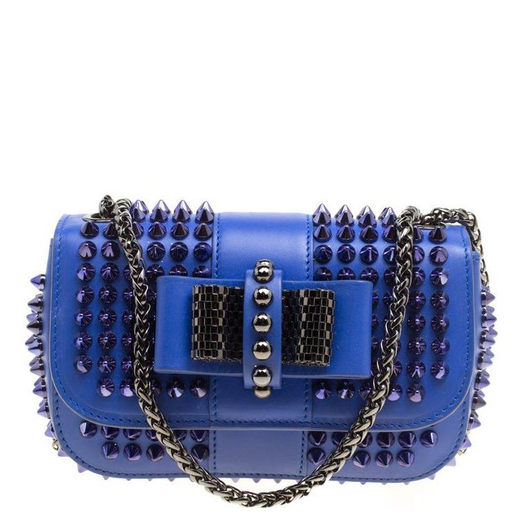 9ce0e829a10 Christian Louboutin Blue Leather Mini Spiked Sweet Charity Crossbody ...