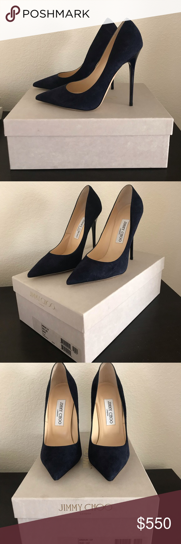 66c2e36549b Jimmy Choo NWB Anouk US Size 7 Navy Blue Brand New with Original Box Made in