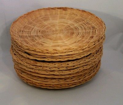 Wicker Paper Plate Holders Lot of 12 Woven Natural Rattan Picnic BBQ Party & Wicker Paper Plate Holders Lot of 12 Woven Natural Rattan Picnic BBQ ...