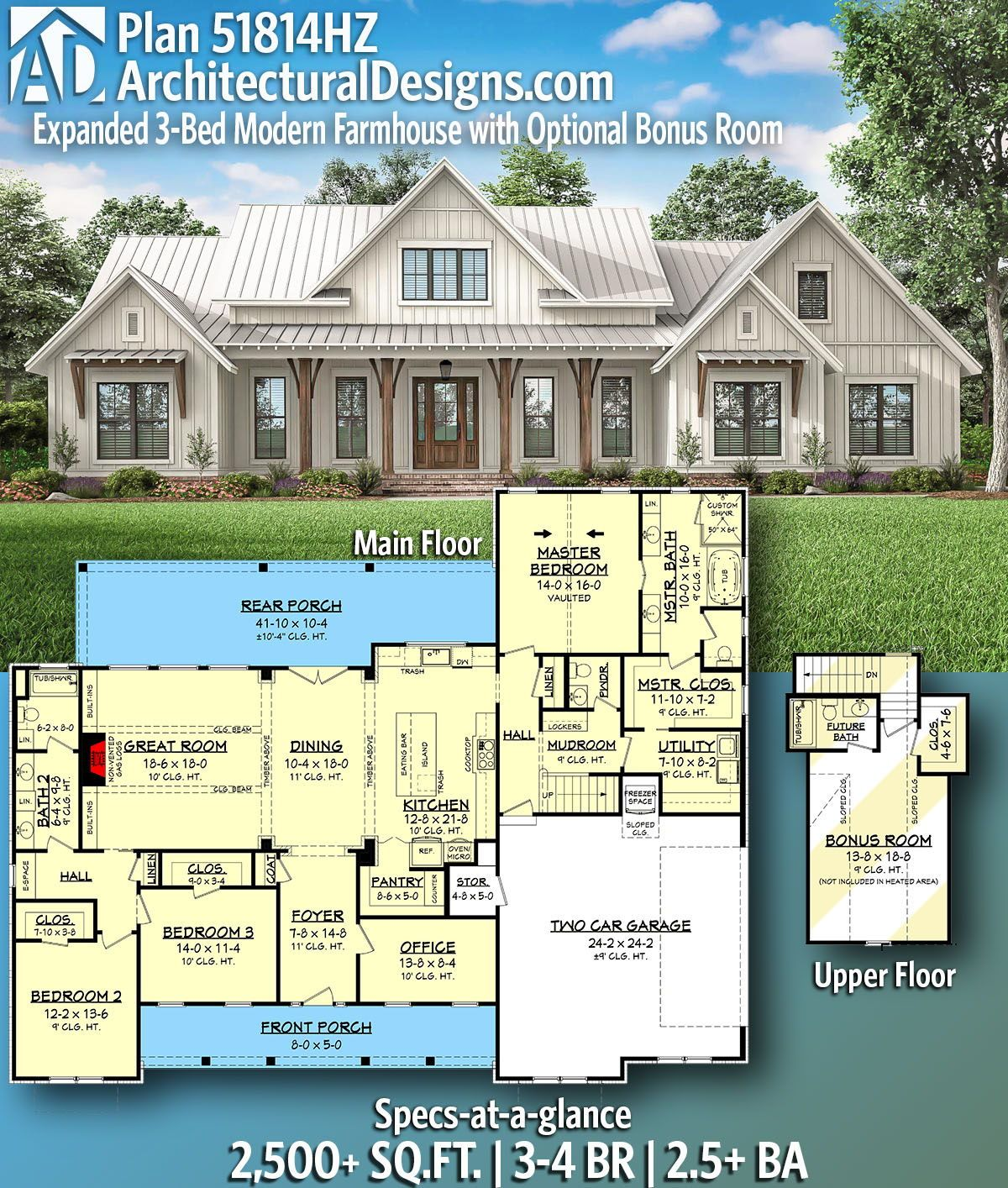 Plan 51814hz Expanded 3 Bed Modern Farmhouse With Optional Bonus Room Modern Farmhouse Plans New House Plans House Plans Farmhouse