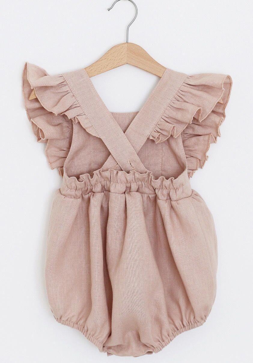 Handmade Powder Pink Linen Vintage Style Baby Romper Rockyracoonapparel On Etsy Vintage Baby Girl Clothes Baby Girl Clothes Baby Girl Fashion