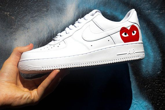 Nike Air Force 1 Comme des Garçons Red Heart Custom Painted
