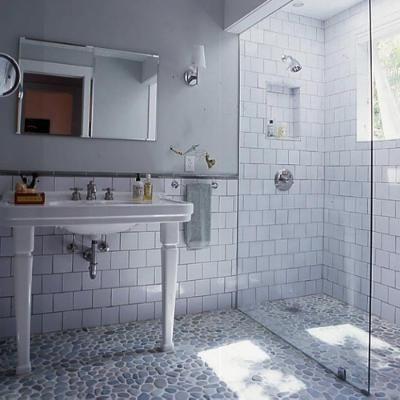 Awesome Alexander Bathroom L. River Rock FloorRiver ...