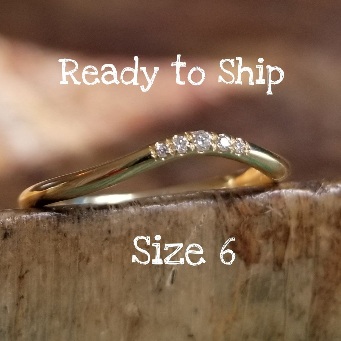 Curved Wedding Band Women, Curved Diamond Rings for Women