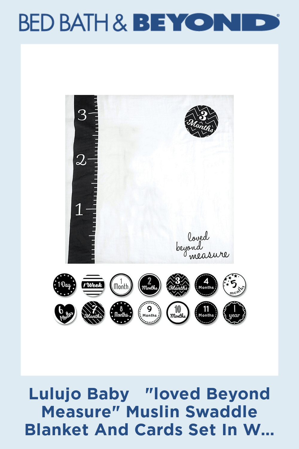 Lulujo Baby loved Beyond Measure Muslin Swaddle Blanket And Cards Set In White/grey