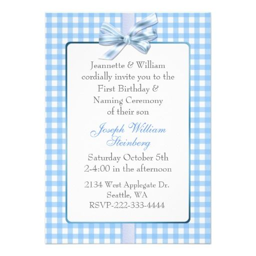 Blue Gingham BabyS Birthday And Naming Ceremony Card  Naming