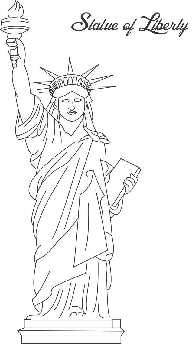 Statue of liberty printable coloring page for kids