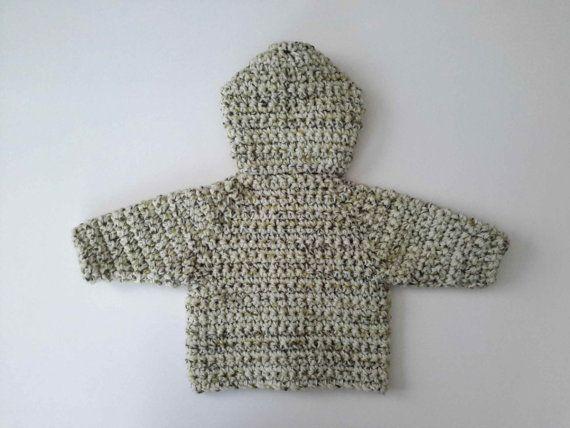 Bebé niño chaqueta de lana con capucha por CreationsbyNinaB en Etsy