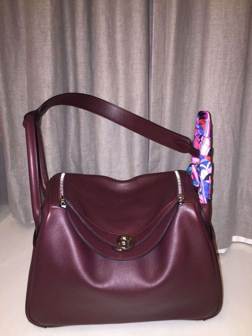 1a6f47b8ae0b Hermes Lindy 30 Prune Evercolor Leather