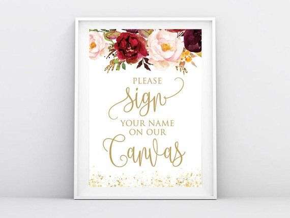 """Instant Download, Sign Your Name On Our Canvas Sign 5""""x7"""", Canvas Guest Book Sign, Wedding Decor Template, DIY Printable PDF (GB35) Bernice"""