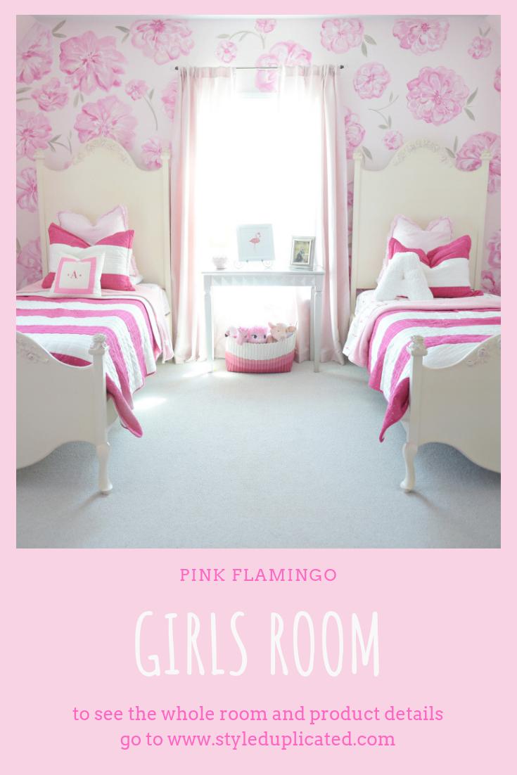 Flamingo Girl S Room Style Duplicated Pink Bedroom For Girls Pink Girl Room Shared Girls Room