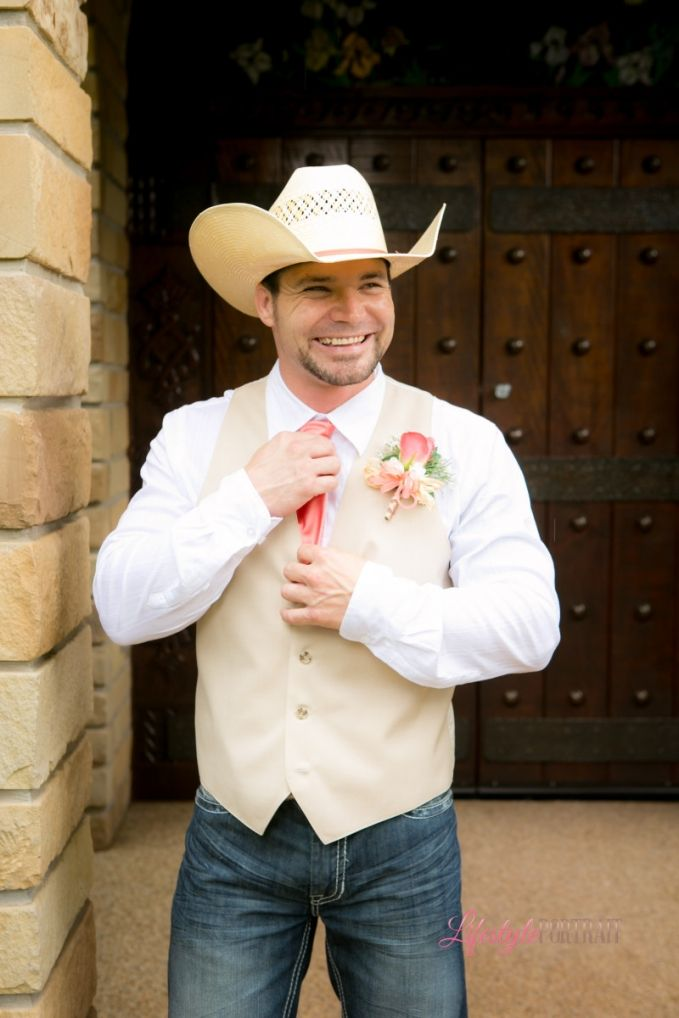 Country Chic Groom Attire Jeans Vest Cowboy Hat