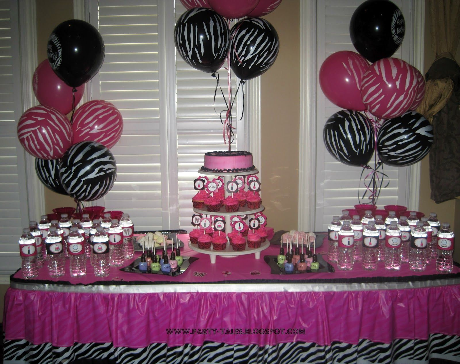 Birthday table decorations for girls - Party Tales Birthday Party Zebra Print And Hot Pink Diva Spa Party Party Ideas For Girlsbirthday