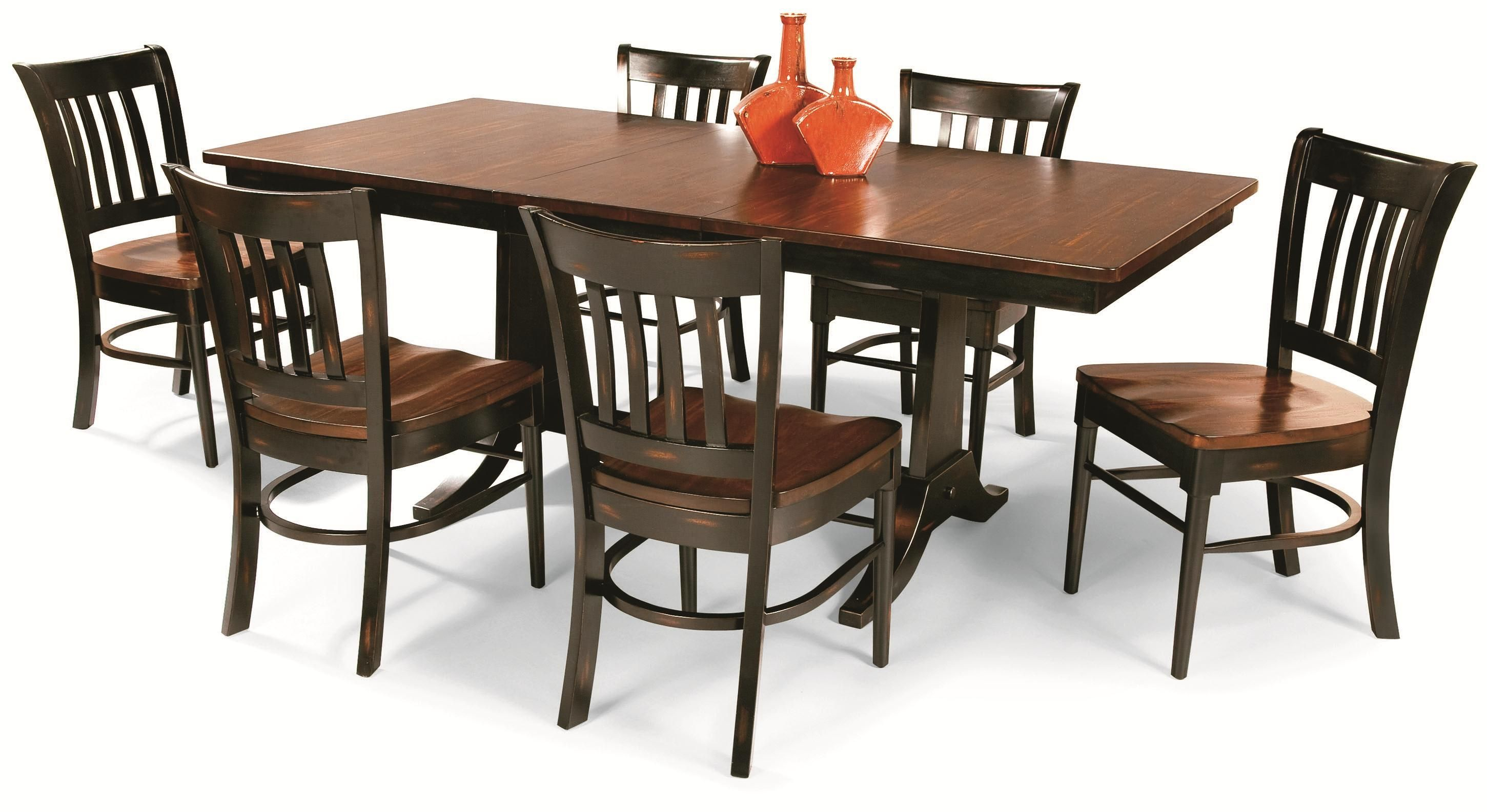 Uptown: Solid Mahogany 7 Piece Trestle Table Dining Group By Cochrane