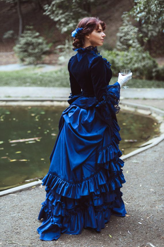 READY TO SHIP. Midnight Blue Victorian Dress. by DressArtMystery