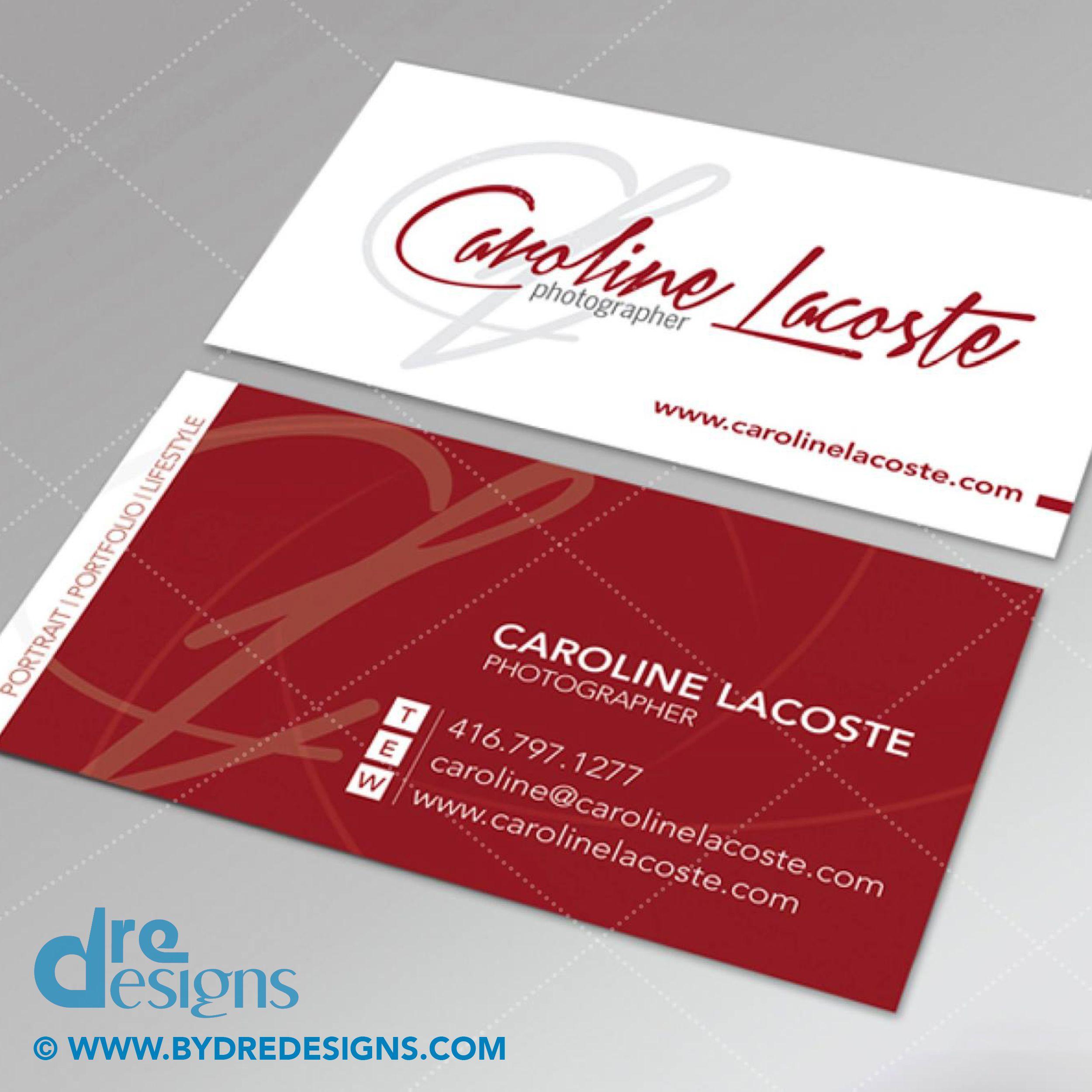 Logo Business Card Design Print For Photographer Caroline Lacoste Dredesigns Businesscard Busin Freelance Graphic Design Business Card Design Card Design