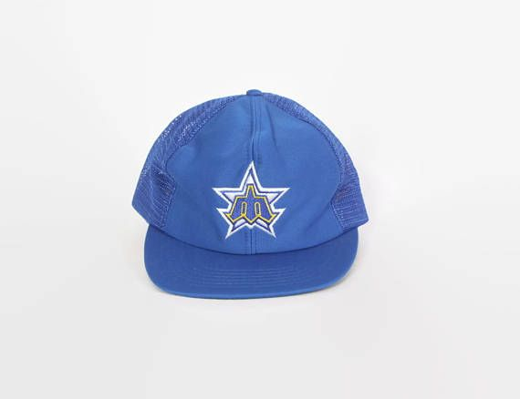 mariners baseball cap womens vintage hat 19 classic blue mesh trucker style