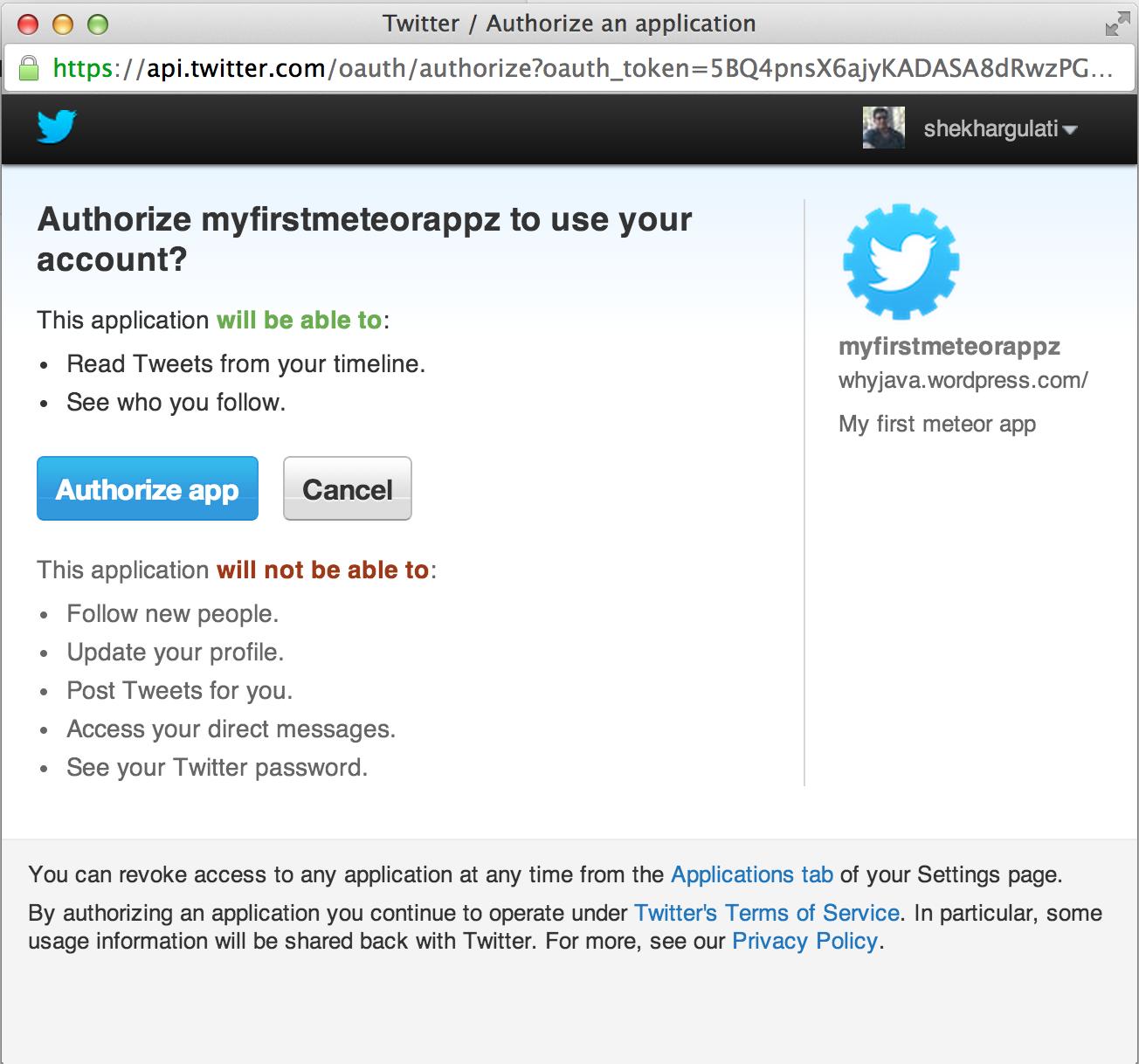 Twitter Authentication Configuration Web app, App, Blog